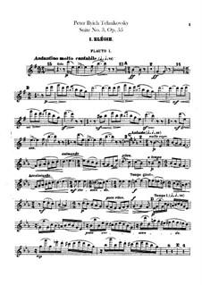 Сюита No.3 соль мажор, TH 33 Op.55: Партии флейт by Петр Чайковский