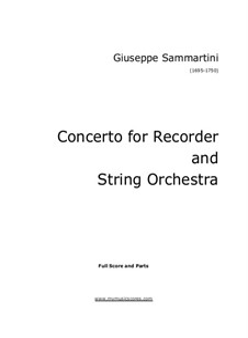 Sammartini Recorder Concerto in F major: Sammartini Recorder Concerto in F major by Джованни Баттиста Саммартини