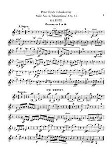 Сюита No.4 соль мажор 'Моцартиана', TH 34 Op.61: Партии кларнетов by Петр Чайковский