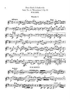 Сюита No.4 соль мажор 'Моцартиана', TH 34 Op.61: Партия I скрипок by Петр Чайковский