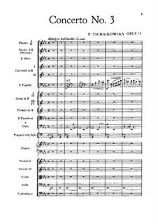 Концерт для фортепиано с оркестром No.3 ми-бемоль мажжор, TH 65 Op.75: Партитура by Петр Чайковский
