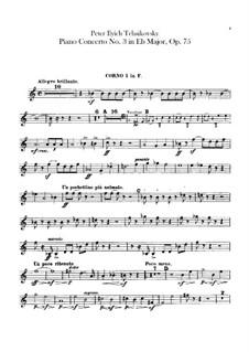 Концерт для фортепиано с оркестром No.3 ми-бемоль мажжор, TH 65 Op.75: Партии валторн by Петр Чайковский