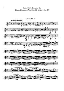 Концерт для фортепиано с оркестром No.3 ми-бемоль мажжор, TH 65 Op.75: Партия первых скрипок by Петр Чайковский