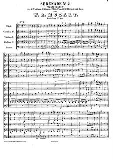 Серенада для струнных и духовых инструментов No.2 фа мажор, K.101: Партитура by Вольфганг Амадей Моцарт