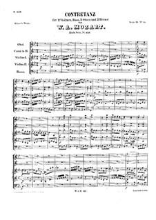 Контрданс для оркестра си-бемоль мажор, K.123: Партитура by Вольфганг Амадей Моцарт