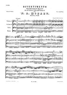 Дивертисмент ре мажор, K.136: Партитура by Вольфганг Амадей Моцарт