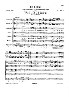 Te Deum in C Major, K.141: Партитура by Вольфганг Амадей Моцарт