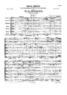 Месса No.8 ре мажор (Missa brevis No.4), K.194: Партитура by Вольфганг Амадей Моцарт