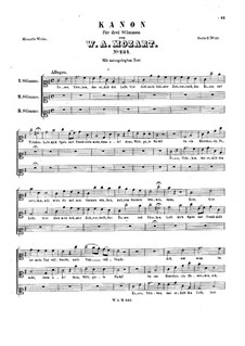 Essen, Trinken, K.234: Essen, Trinken by Вольфганг Амадей Моцарт