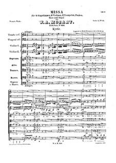 Месса No.11 до мажор (Missa brevis No.7) 'Piccolomini', K.258: Партитура by Вольфганг Амадей Моцарт