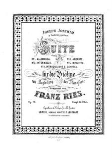 Сюиты для скрипки и фортепиано No.1, 2, 4, Op.26, 27, 38: Партитура by Франц Рис