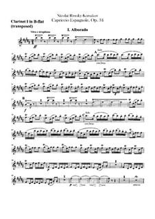 Испанское каприччио, Op.34: Партии кларнетов in B by Николай Римский-Корсаков