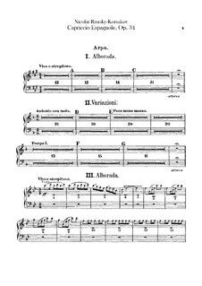 Испанское каприччио, Op.34: Партия арфы by Николай Римский-Корсаков