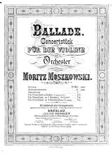 Две концертные пьесы для скрипки и фортепиано, Op.16: No.1 Баллада – сольная партия by Мориц Мошковский