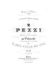 Две пьесы для виолончели и фортепиано, Op.26: Партитура by Edgardo Del Valle de Paz