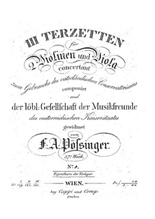 Drei Terzetten für zwei Violinen und Bratsche, Op.37: Trio Nr.3 in A-Dur by Франц Александр Поссингер