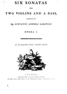 Шесть сонат для двух скрипок и басco континуо, Op.1: Партии by Giovanni Andrea Sabatini