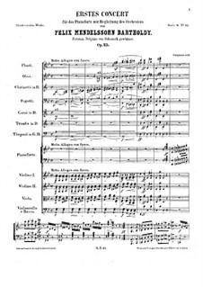 Концерт для фортепиано с оркестром No.1 соль минор, Op.25: Часть I by Феликс Мендельсон-Бартольди