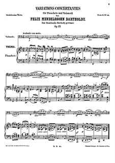Концертные вариации для виолончели и фортепиано ре мажор, Op.17: Партитура by Феликс Мендельсон-Бартольди
