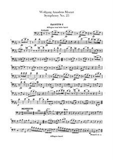Симфония No.25 соль минор, K.183: Партии фаготов by Вольфганг Амадей Моцарт