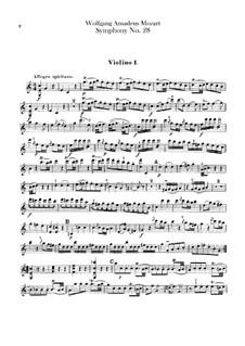 Симфония No.28 до мажор, K.200: Партии скрипок by Вольфганг Амадей Моцарт
