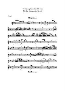 Концерт для скрипки с оркестром No.3 соль мажор, K.216: Партии флейт by Вольфганг Амадей Моцарт