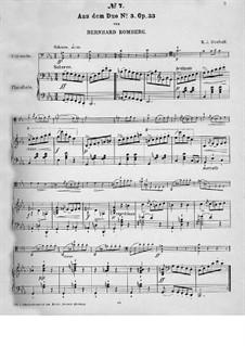 Три больших дуэта для двух виолончелей, Op.33: Скерцо, для виолончели и фортепиано by Бернхард Ромберг