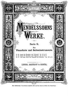 Соната для виолончели и фортепиано No.1 си-бемоль мажор, Op.45: Партитура by Феликс Мендельсон-Бартольди