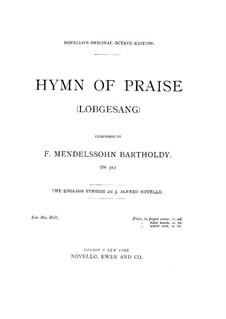Симфония No.2 си-бемоль мажор 'Хвалебный гимн', Op.52:  No.2, для голосов и фортепиано by Феликс Мендельсон-Бартольди
