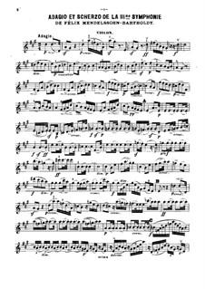 Симфония No.3 ля минор 'Шотландская', Op.56: Адажио и Скерцо, для фортепианного трио – партия скрипки by Феликс Мендельсон-Бартольди