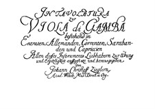 Табулатура для виолы да гамба: Табулатура для виолы да гамба by Johann Christoph Ziegler