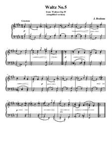 Вальс No.5: Аранжировка для фортепиано (облегченная версия) by Иоганнес Брамс