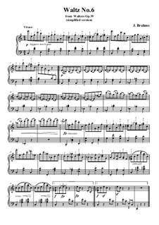 Вальс No.6: Аранжировка для фортепиано (облегченная версия) by Иоганнес Брамс