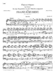 Увертюра для оркестра в итальянском стиле ре мажор, D.590: Аранжировка для фортепиано в 4 руки – партии by Франц Шуберт