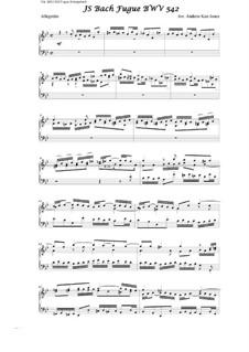 Фантазия и фуга No.12 соль минор (Большая), BWV 542: Фуга. Переложение для фортепиано by Иоганн Себастьян Бах
