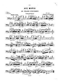 Аве Мария, для двух инструментов, D.839 Op.52 No.6: Для виолончели и фортепиано ре мажор – партия виолончели by Франц Шуберт