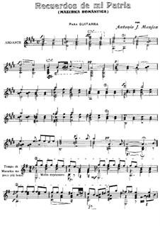 Mazurka Romantica 'Recuerdos de mi Patria': Для гитары by Антонио Хименос Маньон