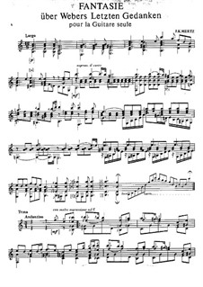 Fantasia on 'Die letzten Gedanken' by Weber: Для гитары by Иоганн Каспар Мерц