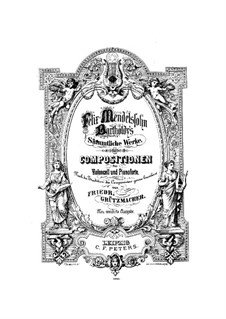 Песня без слов для виолончели и фортепиано, Op.109: Партия виолончели by Феликс Мендельсон-Бартольди