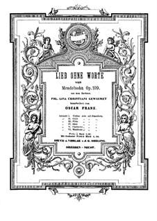 Песня без слов для виолончели и фортепиано, Op.109: Партитура by Феликс Мендельсон-Бартольди