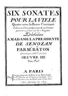 Шесть сонат для фидели и бассо континуо, Op.3: Шесть сонат для фидели и бассо континуо by Charles Bâton
