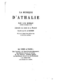 Athalie. Intermèdes en musique: Партитура by Jean-Baptiste Moreau