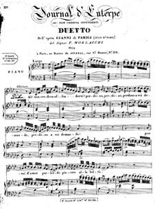 Gianni di Parigi. Duo, for Voices and Piano: Gianni di Parigi. Duo, for Voices and Piano by Francesco Morlacchi