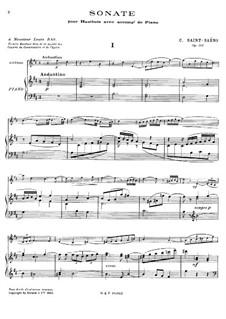 Соната для гобоя и фортепиано ре мажор, Op.166: Партитура by Камиль Сен-Санс