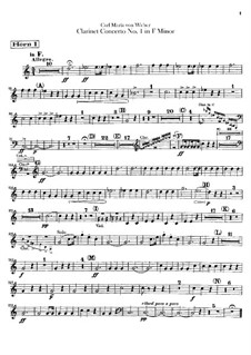 Концерт для кларнета с оркестром No.1, J.114 Op.73: Партии by Карл Мария фон Вебер