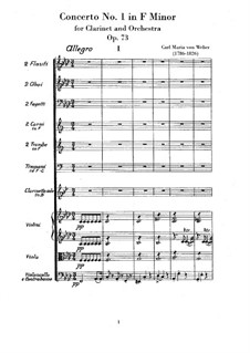 Концерт для кларнета с оркестром No.1, J.114 Op.73: Партитура by Карл Мария фон Вебер