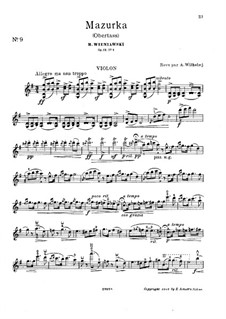 Две характерные мазурки, Op.19: Мазурка No.1 – сольная партия by Генрик Венявский
