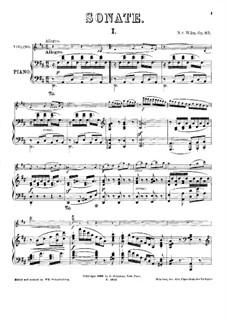 Соната для скрипки и фортепиано No.1, Op.83: Партитура by Николай фон Вильм
