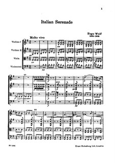 Итальянская серенада для струнного квартета: Партитура by Хуго Вольф