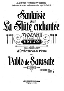 Фантазия на темы из оперы 'Волшебная флейта' Моцарта, Op.54: Партитура by Пабло де Сарасате